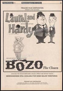 LAUREL & HARDY_/_BOZO THE CLOWN__Original 1979 Trade AD / poster__LARRY HARMON