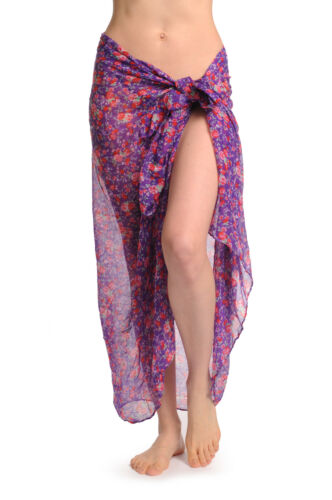 SF000904 Small Roses On Purple Unisex Scarf and Beach Sarong