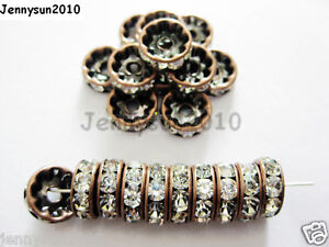 100Pc-Czech-Crystal-Rhinestone-Copper-Rondelle-Spacer-Beads-4mm-5mm-6mm-8mm-10mm