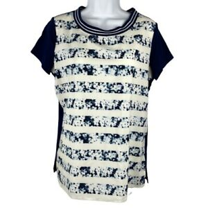 Lands-039-End-Medium-Shirt-Blouse-Nautical-Sailing-Short-Sleeves-Flowing-Casual