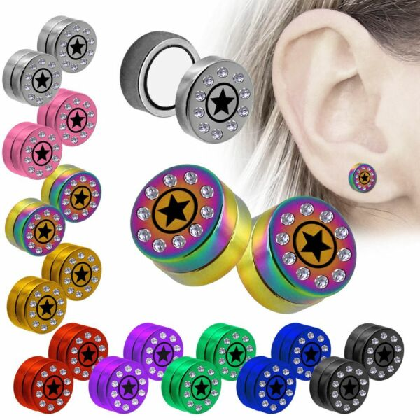 1 Paar Magnetische Fakeplugs Fake Plug Edelstahl Ohrclips Piercing Stern Strass