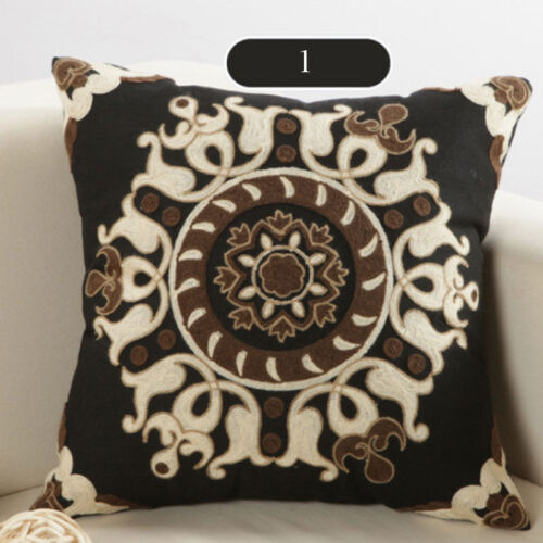 """Ethnic Embroidery Cotton Cushion Cover Throw Pillow Case Sofa Square 18/""""x18/"""" New"""