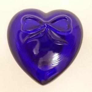 "VINTAGE 3"" HEART BOX Cobalt Blue Glass SUMMIT Covered Trinket Dish"