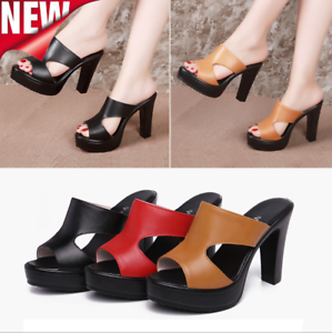 Fashion-High-Block-Heels-Women-039-s-Platform-Wedge-Sandals-Open-Toe-Slippers-Summer