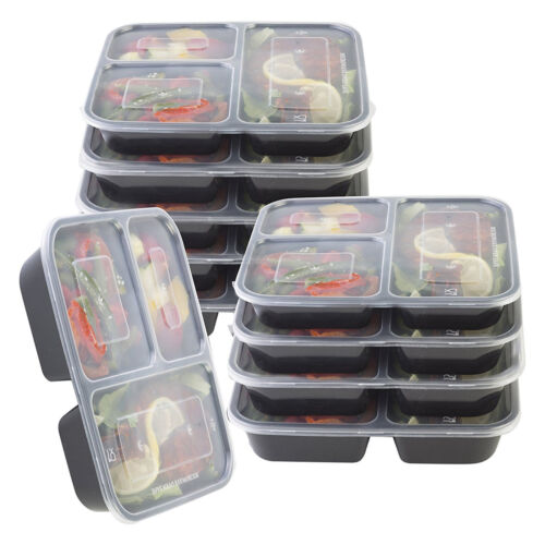 10 PACK MEAL PREP 3 COMPARTMENT FOOD CONTAINERS WITH LIDS LUNCH BOX STACKABLE