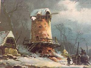 Antique-Vintage-Postcard-Windmill-Lighthouse-Boat-Winter-Postmarked-1905-Color