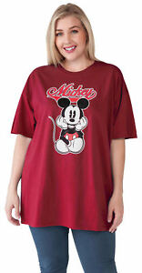 Women-039-s-Plus-Size-Mickey-Mouse-Varsity-T-Shirt-Cardinal-Red