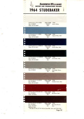 1964 STUDEBAKER LARK CHALLENGER COMMANDER GRAN TURISMO HAWK 64 PAINT CHIPS SW 7