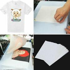 20 Pcs Heat Transfer Paper T Shirt Inkjet Iron On Sheet Light Fabric Cloth Craft