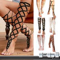 2pc Gladiator Crochet Barefoot Sandal Knee-high Leg Foot Anklet Bracelet Chain