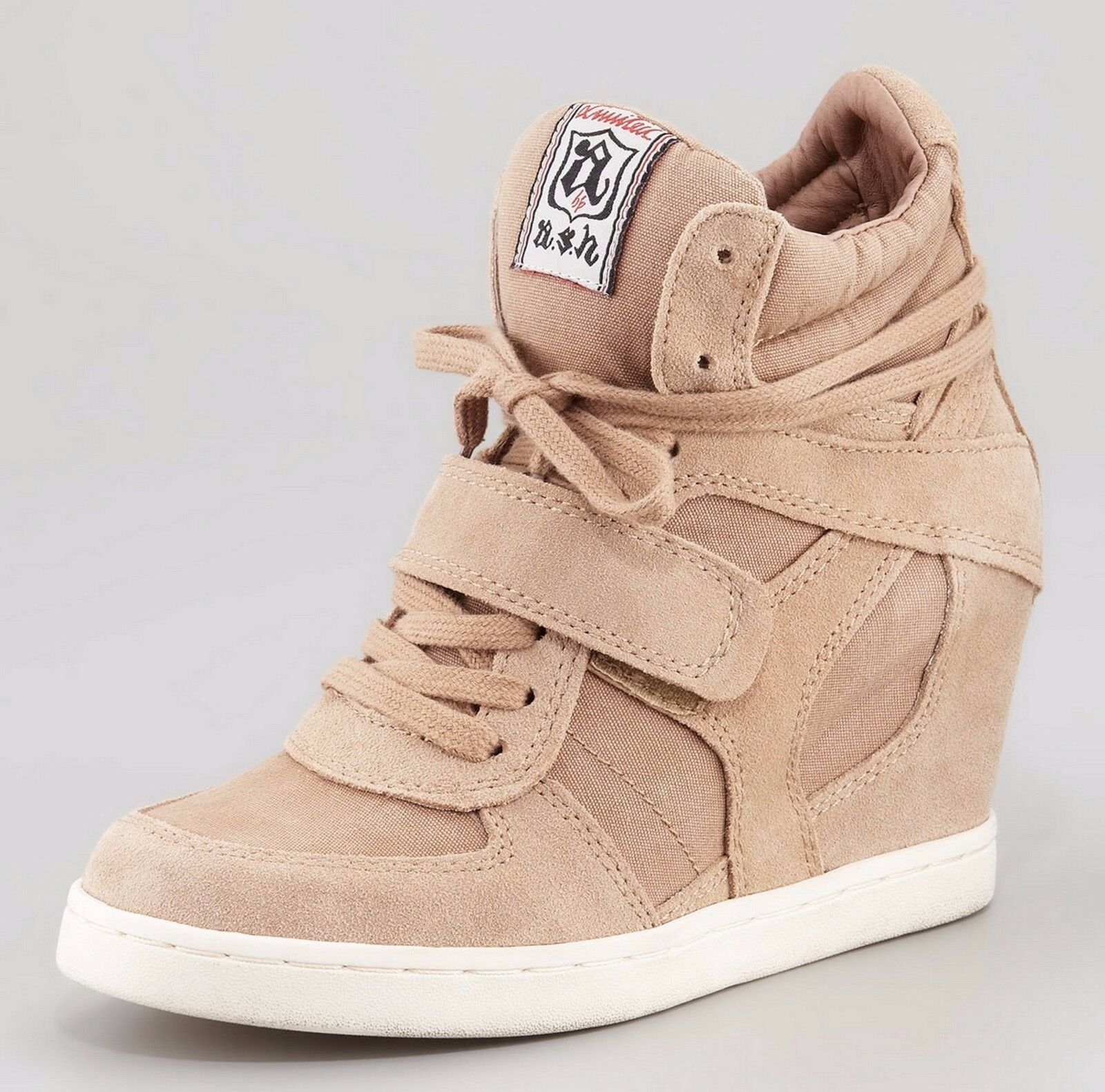 New with Box Ash COOL Suede Wedge Bottesies Sneakers Chaussures, BEIGE, EUR 37