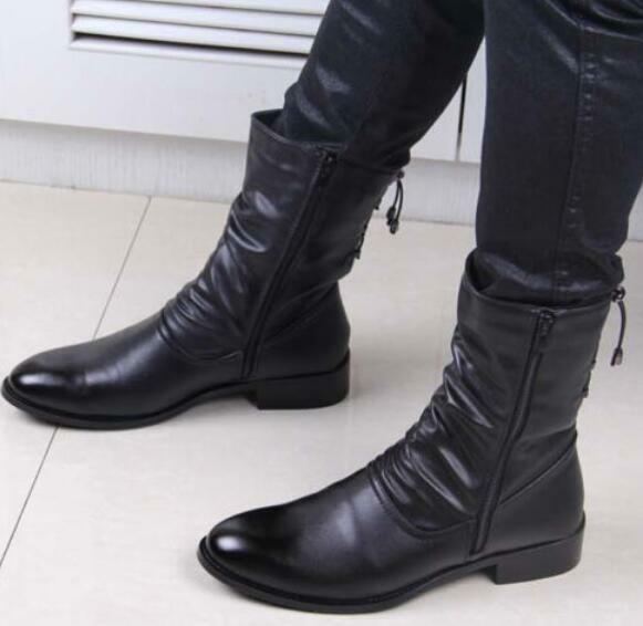 Men's Korean Side Zipper Pointy Toe Mid-calf Boots Warm Britpop PU leather shoes