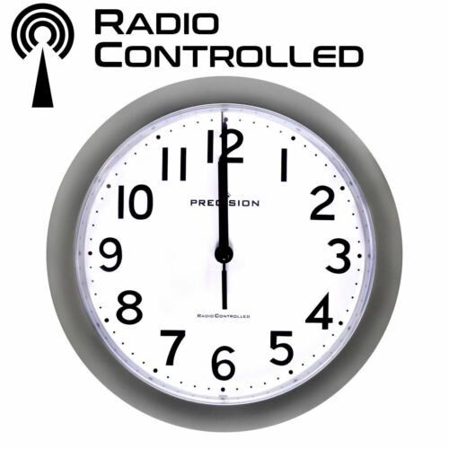 Precision PREC0060 Radio Controlled Analogue Wall Clock Silver