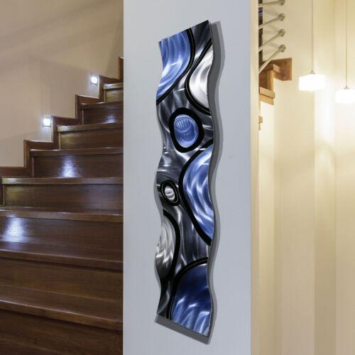 Metal Wall Art Sculpture ULTRA MODERN WAVE ART Blue Silver Black Decor Jon Allen