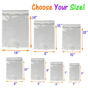 5x 7  1.5 Mil Self-Sealing /& Resealable ~ Expedited Shipping! 200 Clear Cello Merchandise Bag Combo 100 each of 2 Sizes ~ 10x 13