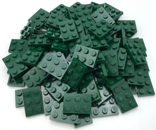 Lego 100 New Dark Green Plates 2 x 3 Dot Pieces Parts