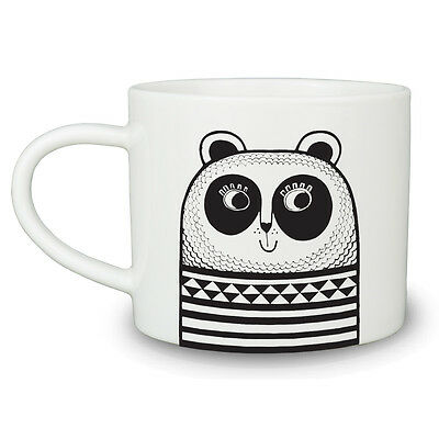 Jane Foster Retro Vintage Geometric animal monochrome Panda Cup Mug Tea Coffee