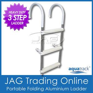 AQUATRACK HEAVY DUTY 3 STEP ALUMINIUM FOLDING BOARDING LADDER - Boat/Yacht/Poo<wbr/>l