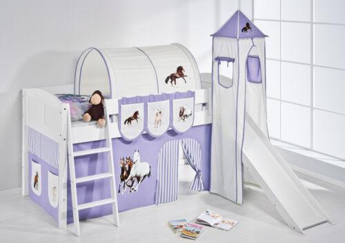 Spielbett surelevé superposé avec tour et toboggan 4106 LILOKIDS chevaux violet