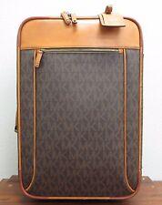MICHAEL KORS Saddle Leather MK Wheeled Luggage Suitcase Duffle Travel Trolley wT