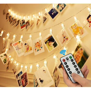 sneakers for cheap 30fdc eb46d Details about 20/40 LEDs Photo Clip String Light Hanging Picture Peg Fairy  Lights with Remote