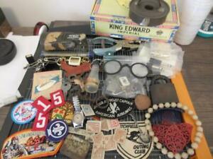 Junk Drawer Lot M43/U Mic Patches Antique Doughnut Cutter Glasses Lock & MORE