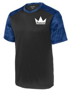 Brunswick Men/'s Magnitude Performance Crew Bowling Shirt Dri-Fit Black Blue