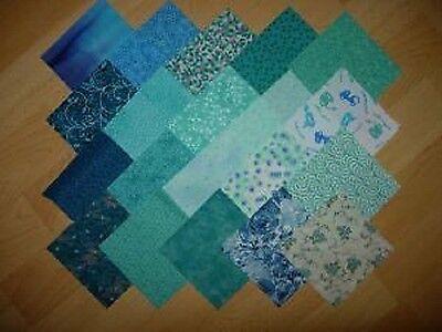 lot de 20 coupons de tissu patchwork turquoises