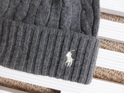 Rib Wool Beanie Lauren Cashmere Hat Toque Heather Ralph Polo Genuine Tags Grey xWwgq4ZC0n