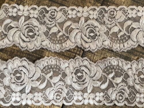 "laverslace  Quality Taupe Beige Floral Rose Narrow Stretch Lace Trim 2.5/""//6cm"