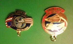 Two NASA Space Program Necklace Pendants, Challenger, Baudry,Walker,Bobko,Nagel