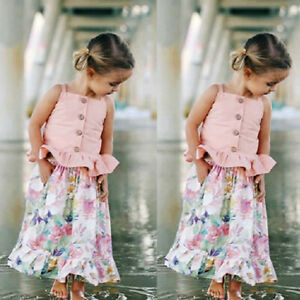 dbed73daa3733 Details about Summer Toddler Kids Baby Girl T shirt Tops+Floral Skirt Dress  Outfit Clothes Set