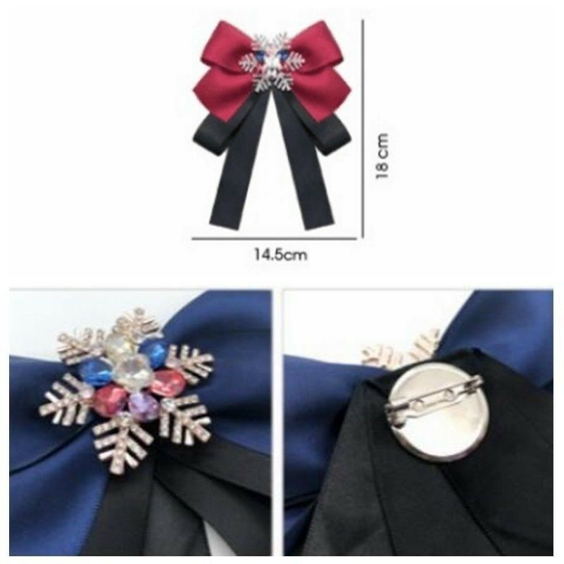 Women's Bow Tie Satin Snowflake Crystal Pin Necktie Party Show Accessory Vintage