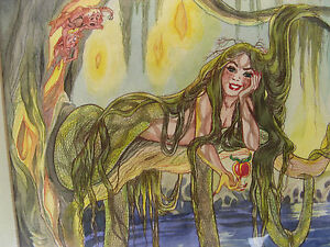 1984-LAMIA-SNAKE-GIRL-w-FAIRIES-w-c-painting-FILMATION-ANIMATION-ARTIST
