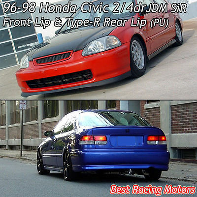 SiR Style Front + TR Style Rear Bumper Lip (Urethane) Fits 96-98 Civic 4dr