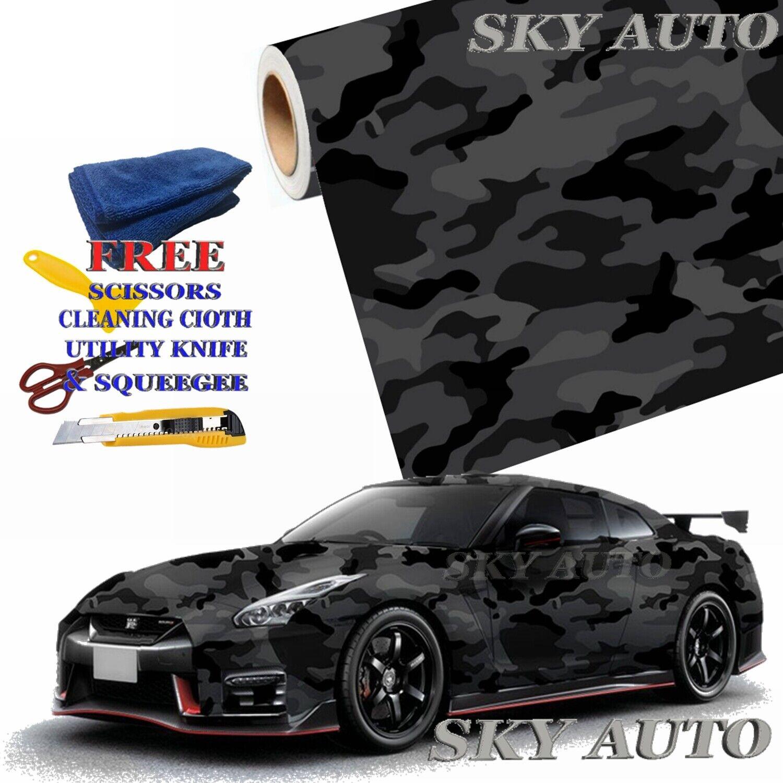 Free Tools Red Black White Gray Camo Camouflage Vinyl Car Wrap Film Sheet