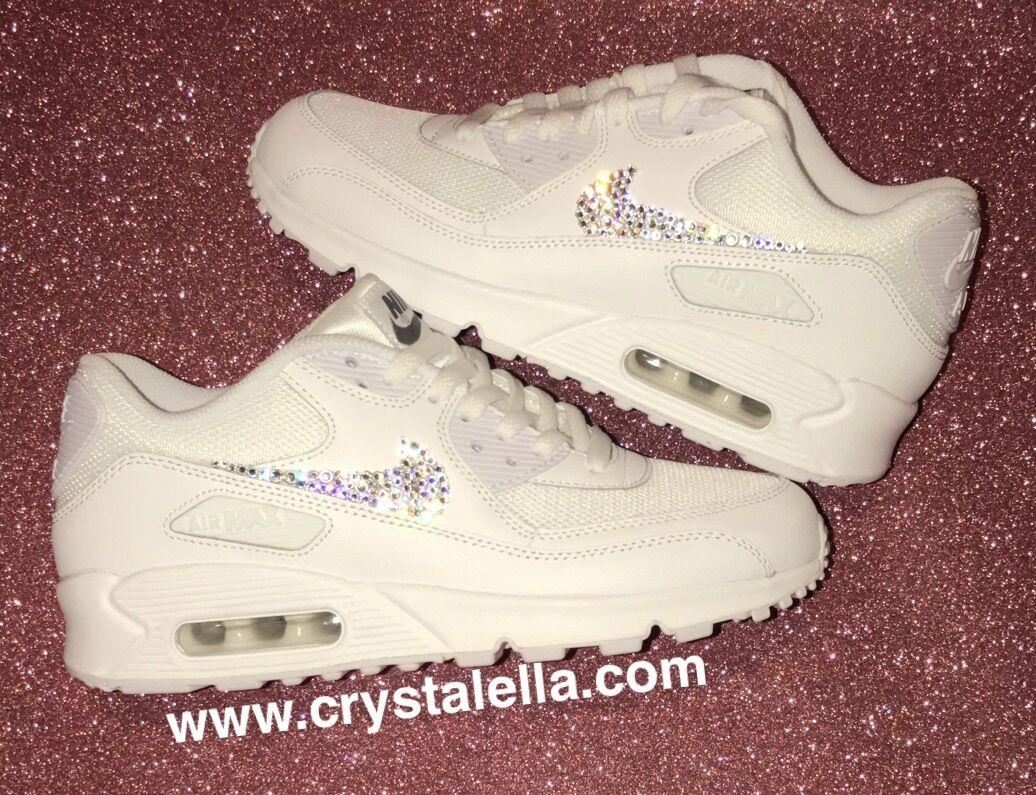 blanc  Nike Air Max 90 Mesh Swarovski - Outer 2 ticks/swooshes Swarovski Mesh Crystallised 21a1c9