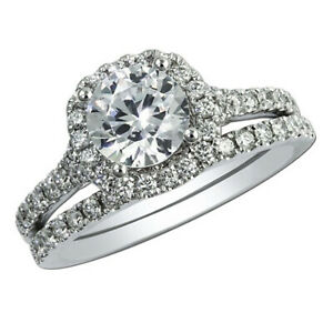 2.20 Ct Round Moissanite Band Set 14K Solid White Gold Proposal Engagement Ring