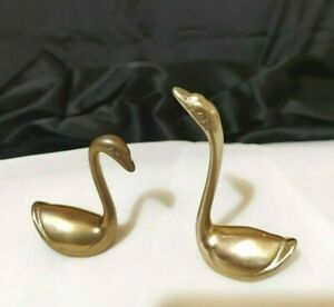 Vintage Brass Swans Figurines Sculptures Mid Century Lot of 2 Preowned