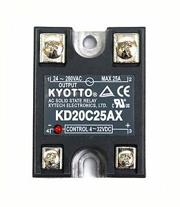 1pc KYOTTO AC Solid State Relay SSR KD20C25AX 280VAC 25A DC to AC