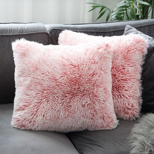 "18/"" Plush Luxury Fluffy Plain Soft Cushion Cover Pillow Cases Home Sofa Decor **"