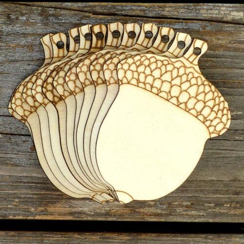 10x Wooden Oak Tree Acorn Craft Shapes 3mm Plywood