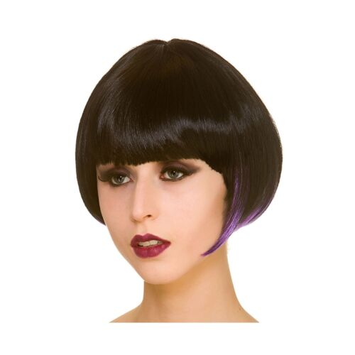 Witch Short Bob Wig Purple Adults Womens Fancy Dress Costume Accessory