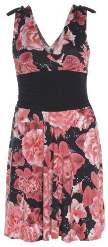 New Womens Floral Sequins V Neck Dress 8-14