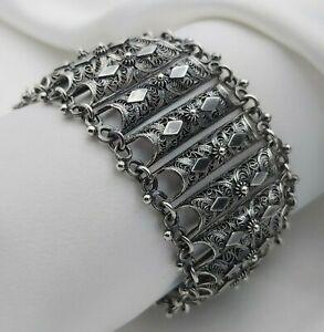 800 Silver Vintage Wide Ornate Filigree Panel Bracelet