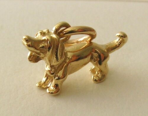 GENUINE SOLID 9K 9ct YELLOW GOLD DACHSHUND DOG ANIMAL CHARM PENDANT