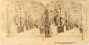 Italia-Roma-Vaticano-Biblioteca-Pape-Foto-Stereo-Vintage-Albumina-PL62L3