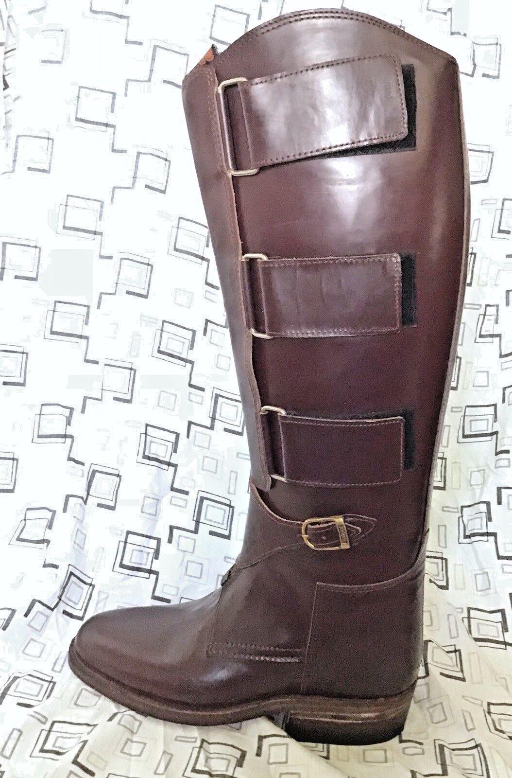 botas de jugador de polo de hombre 10 Rojo Marrón-Ecuestre botas Altas botas Cuero