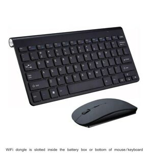 Black Wireless Mini Ultra Slim Keyboard and Mouse For Easy Smart TV Contol for Panasonic Viera TX-L42ET60B Smart TV