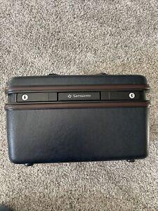 VintageSamsonite Silhouette 4 Dark Navy Blue Train Case Hard Luggage w/ Mirror